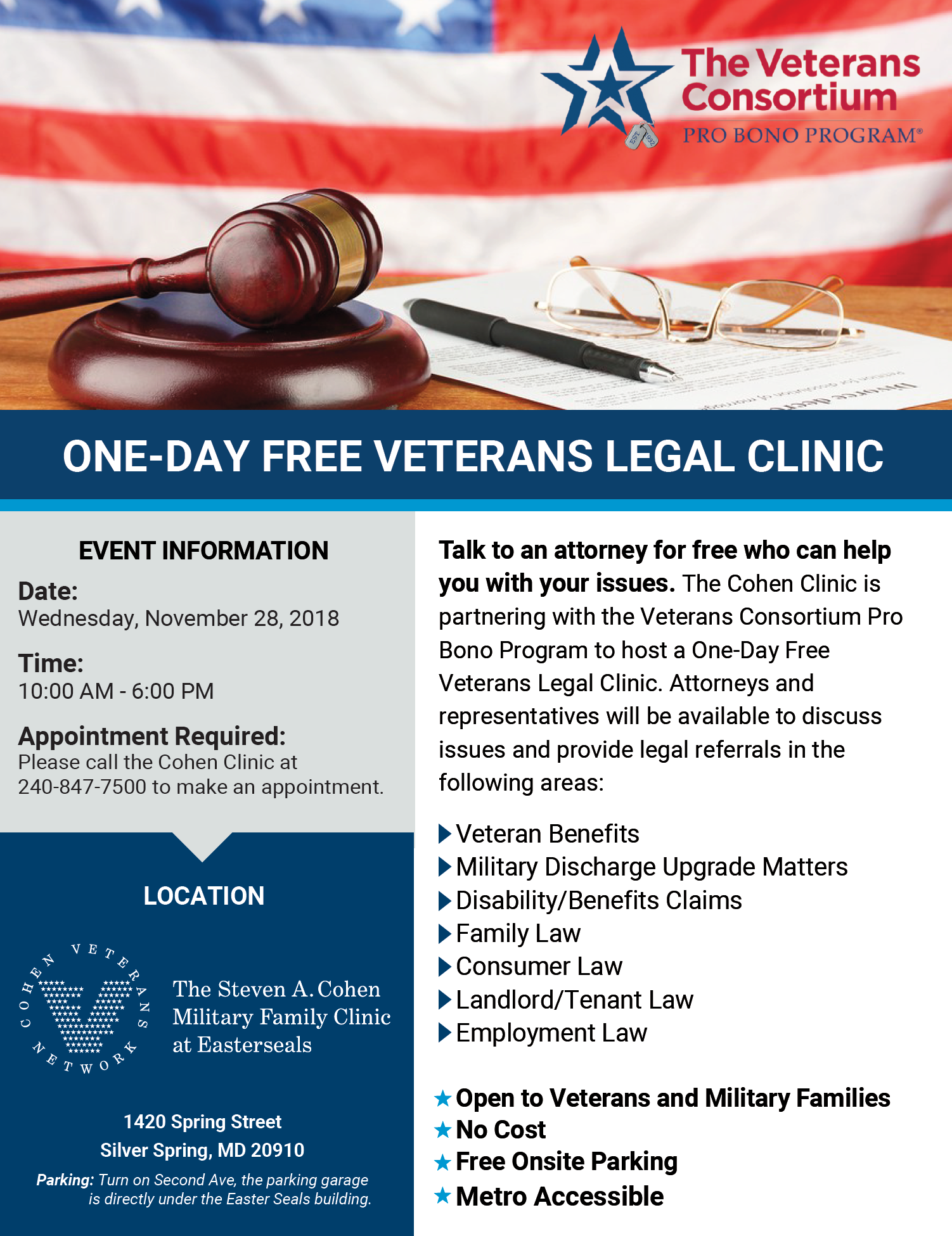 One-Day Free Veterans Legal and Benefits Clinic - :