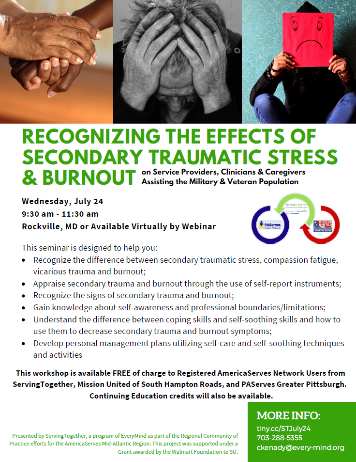 Secondary Traumatic Stress For >> Recognizing The Effects Of Secondary Traumatic Stress Burnout