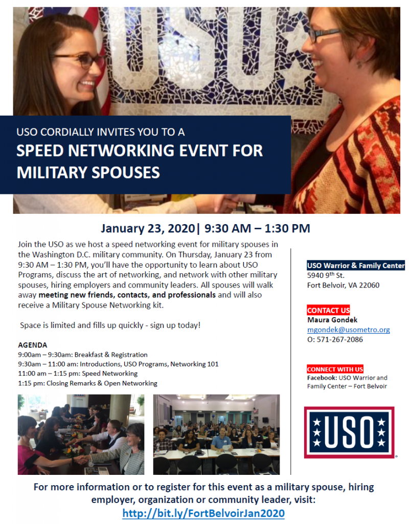 Military Spouse Networking Fort Belvoir USO